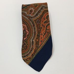 Vintage wide Polo silk navy orange paisley tie